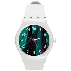 Abstract Green Purple Round Plastic Sport Watch (m)