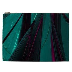 Abstract Green Purple Cosmetic Bag (xxl)