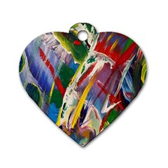 Abstract Art Art Artwork Colorful Dog Tag Heart (two Sides)