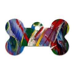 Abstract Art Art Artwork Colorful Dog Tag Bone (one Side)