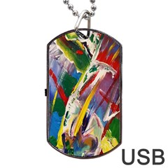 Abstract Art Art Artwork Colorful Dog Tag Usb Flash (one Side)