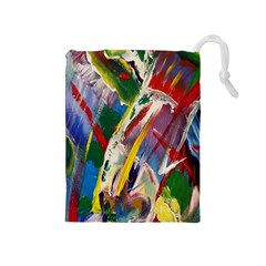 Abstract Art Art Artwork Colorful Drawstring Pouches (medium)  by Nexatart
