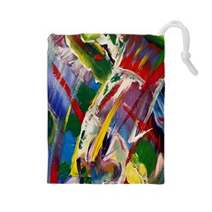 Abstract Art Art Artwork Colorful Drawstring Pouches (large)