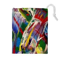 Abstract Art Art Artwork Colorful Drawstring Pouches (extra Large) by Nexatart