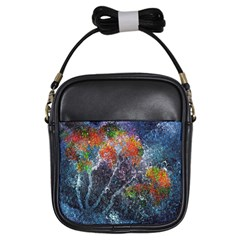 Abstract Digital Art Girls Sling Bags