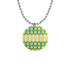 Green Yellow Shapes                                                                                                                   1  Button Necklace