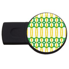 Green Yellow Shapes                                                                                                                   usb Flash Drive Round (4 Gb) by LalyLauraFLM