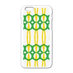 Green Yellow Shapes                                                                                                                  			apple Iphone 6/6s White Enamel Case by LalyLauraFLM