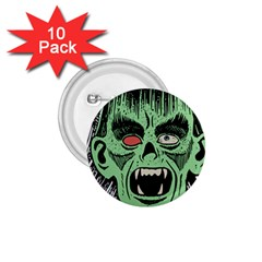 Zombie Face Vector Clipart 1 75  Buttons (10 Pack)