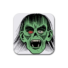 Zombie Face Vector Clipart Rubber Coaster (square)