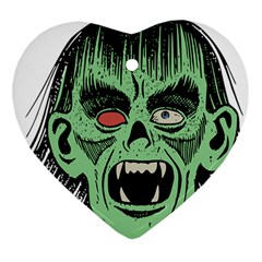 Zombie Face Vector Clipart Heart Ornament (two Sides)