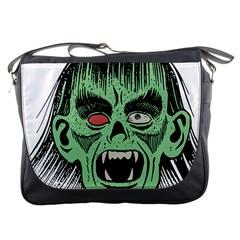 Zombie Face Vector Clipart Messenger Bags