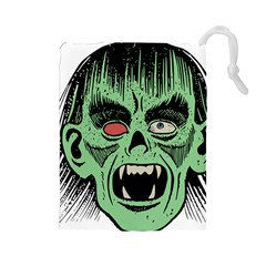 Zombie Face Vector Clipart Drawstring Pouches (large)
