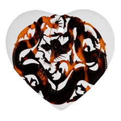 Ornament Dragons Chinese Art Heart Ornament (two Sides) by Nexatart