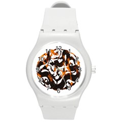 Ornament Dragons Chinese Art Round Plastic Sport Watch (m)