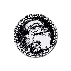 Santa Claus Christmas Holly Rubber Round Coaster (4 Pack)