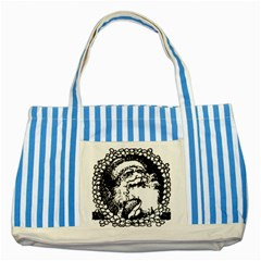 Santa Claus Christmas Holly Striped Blue Tote Bag