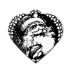 Santa Claus Christmas Holly Dog Tag Heart (one Side)