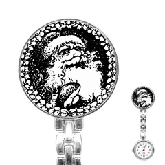 Santa Claus Christmas Holly Stainless Steel Nurses Watch by Nexatart