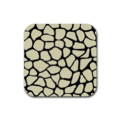 Skin1 Black Marble & Beige Linen Rubber Square Coaster (4 Pack) by trendistuff