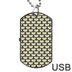 Scales3 Black Marble & Beige Linen (r) Dog Tag Usb Flash (one Side) by trendistuff