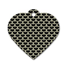 Scales3 Black Marble & Beige Linen Dog Tag Heart (one Side) by trendistuff