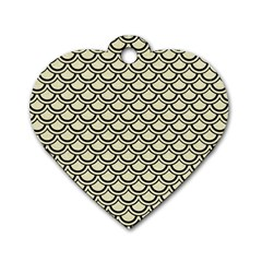 Scales2 Black Marble & Beige Linen (r) Dog Tag Heart (one Side) by trendistuff