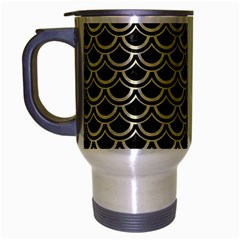 Scales2 Black Marble & Beige Linen Travel Mug (silver Gray) by trendistuff