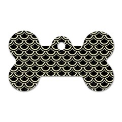 Scales2 Black Marble & Beige Linen Dog Tag Bone (two Sides) by trendistuff
