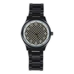 Scales2 Black Marble & Beige Linen Stainless Steel Round Watch by trendistuff
