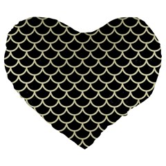 Scales1 Black Marble & Beige Linen Large 19  Premium Flano Heart Shape Cushion by trendistuff