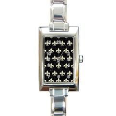 Royal1 Black Marble & Beige Linen (r) Rectangle Italian Charm Watch