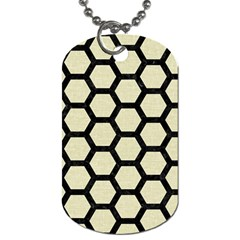 Hexagon2 Black Marble & Beige Linen (r) Dog Tag (two Sides) by trendistuff