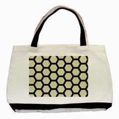 Hexagon2 Black Marble & Beige Linen (r) Basic Tote Bag by trendistuff