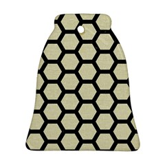 Hexagon2 Black Marble & Beige Linen (r) Bell Ornament (two Sides) by trendistuff