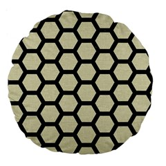 Hexagon2 Black Marble & Beige Linen (r) Large 18  Premium Flano Round Cushion  by trendistuff