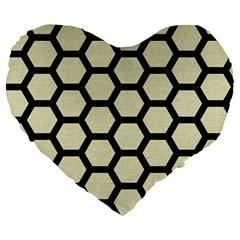 Hexagon2 Black Marble & Beige Linen (r) Large 19  Premium Flano Heart Shape Cushion by trendistuff