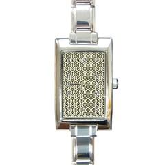 Hexagon1 Black Marble & Beige Linen (r) Rectangle Italian Charm Watch