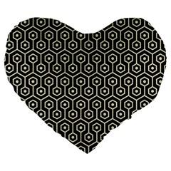 Hexagon1 Black Marble & Beige Linen Large 19  Premium Flano Heart Shape Cushion