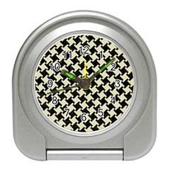 Houndstooth2 Black Marble & Beige Linen Travel Alarm Clock by trendistuff