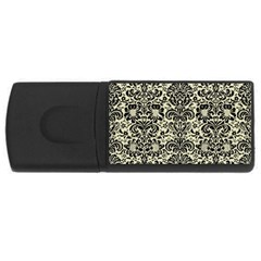 Damask2 Black Marble & Beige Linen (r) Usb Flash Drive Rectangular (4 Gb) by trendistuff