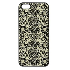 Damask2 Black Marble & Beige Linen (r) Apple Iphone 5 Seamless Case (black) by trendistuff