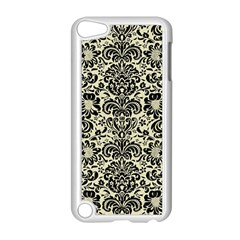 Damask2 Black Marble & Beige Linen (r) Apple Ipod Touch 5 Case (white) by trendistuff