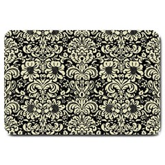 Damask2 Black Marble & Beige Linen Large Doormat by trendistuff