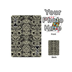 Damask2 Black Marble & Beige Linen Playing Cards 54 (mini) by trendistuff