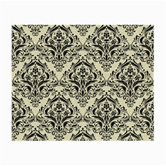 Damask1 Black Marble & Beige Linen (r) Small Glasses Cloth by trendistuff