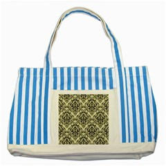 Damask1 Black Marble & Beige Linen (r) Striped Blue Tote Bag by trendistuff