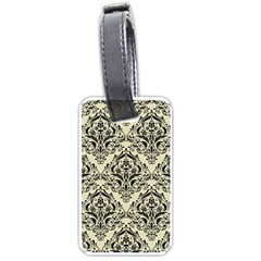 Damask1 Black Marble & Beige Linen (r) Luggage Tag (one Side) by trendistuff