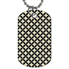 Circles3 Black Marble & Beige Linen (r) Dog Tag (two Sides) by trendistuff