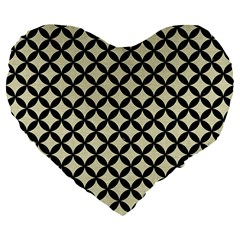 Circles3 Black Marble & Beige Linen (r) Large 19  Premium Flano Heart Shape Cushion by trendistuff